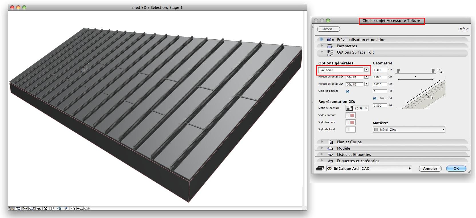 Abvent 3d architecture design for Toiture zinc joint debout