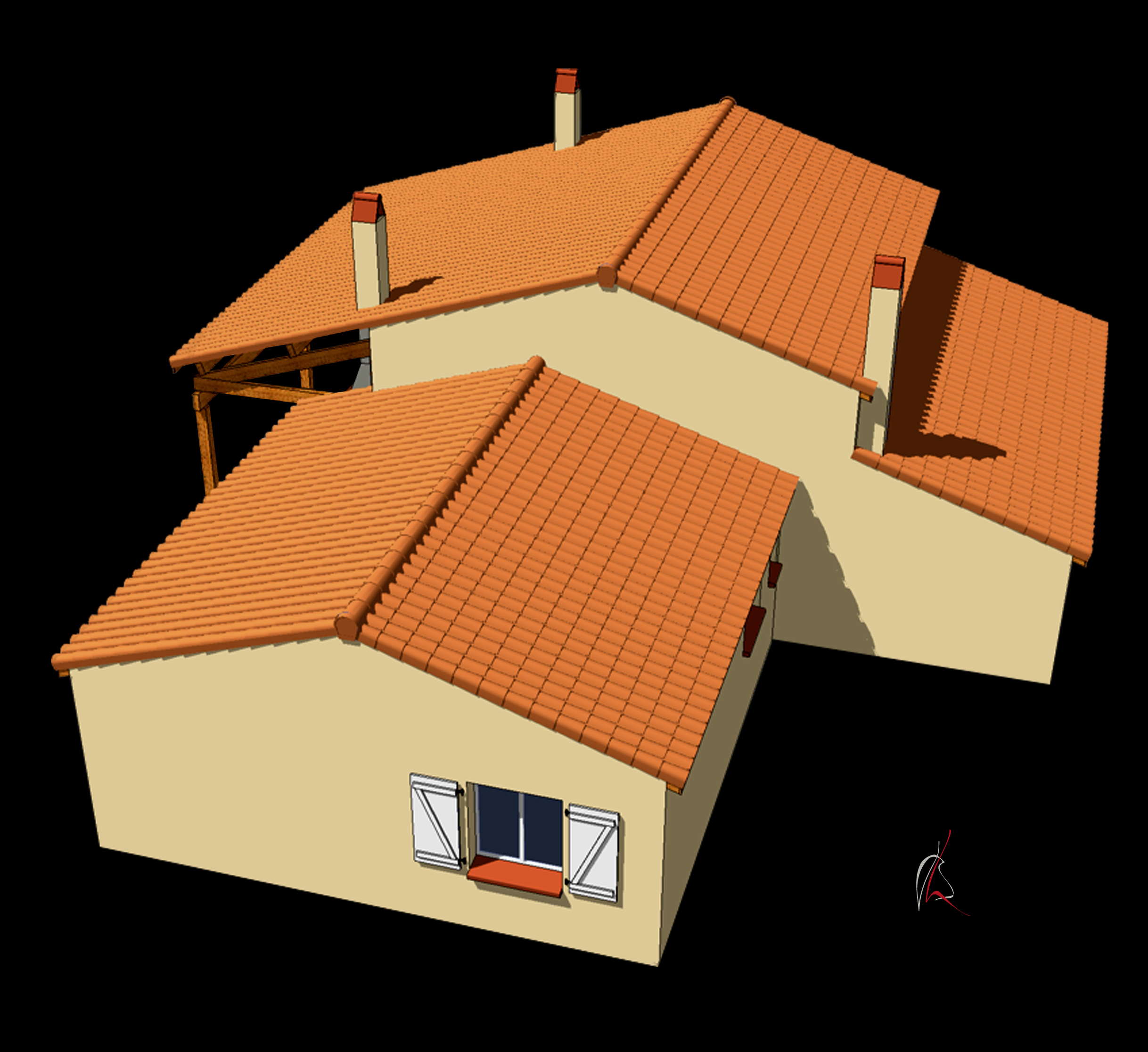 Sketchup toiture tuile